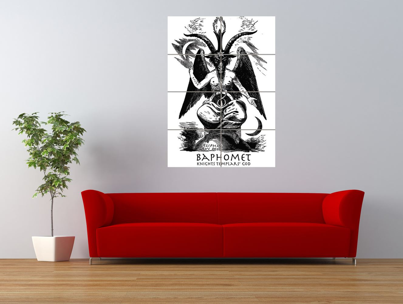 baphomet knights templar icon angel giant art print panel poster nor0601 ebay. Black Bedroom Furniture Sets. Home Design Ideas
