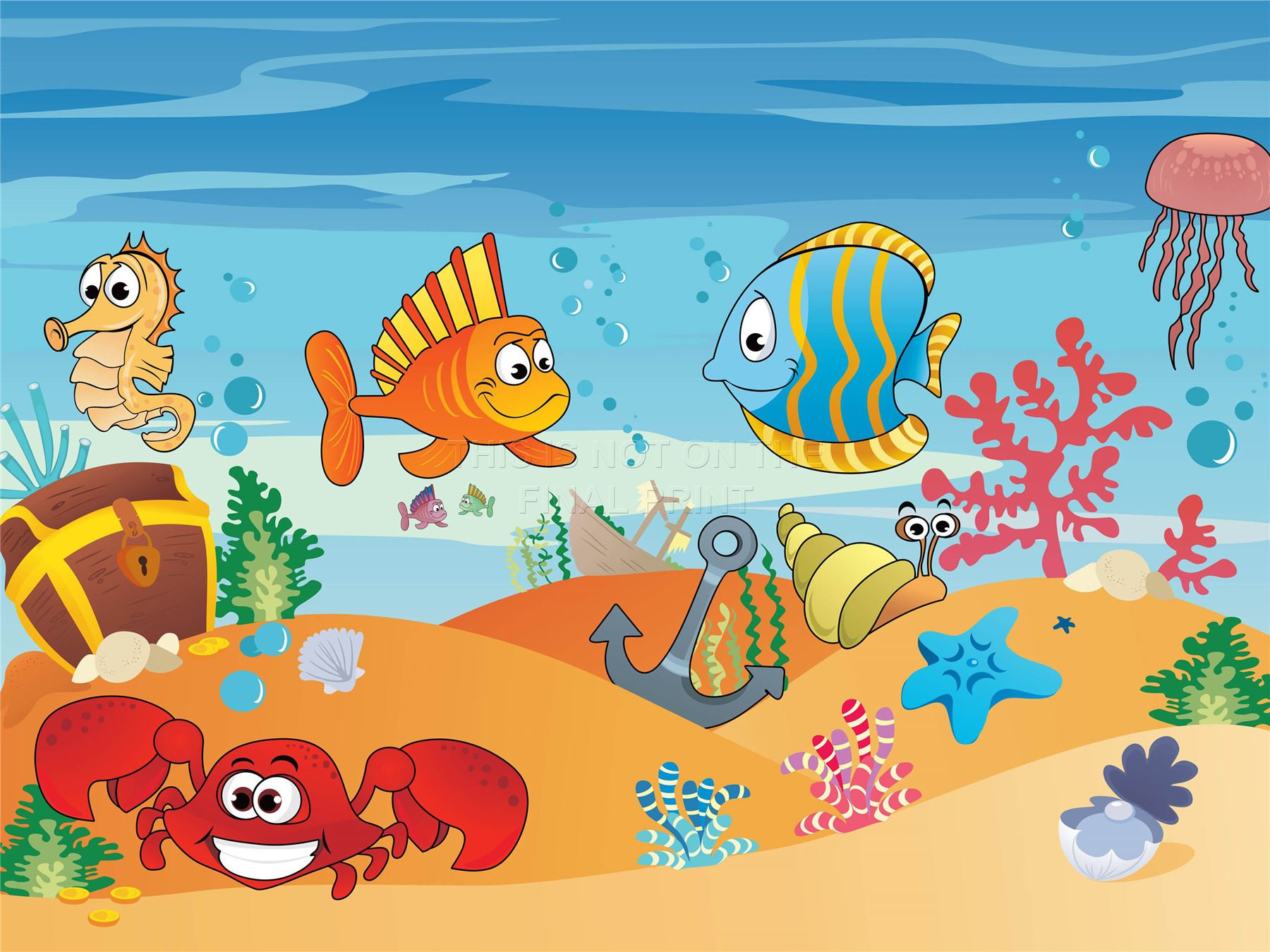 art print poster painting drawing aquatic marine life cartoon