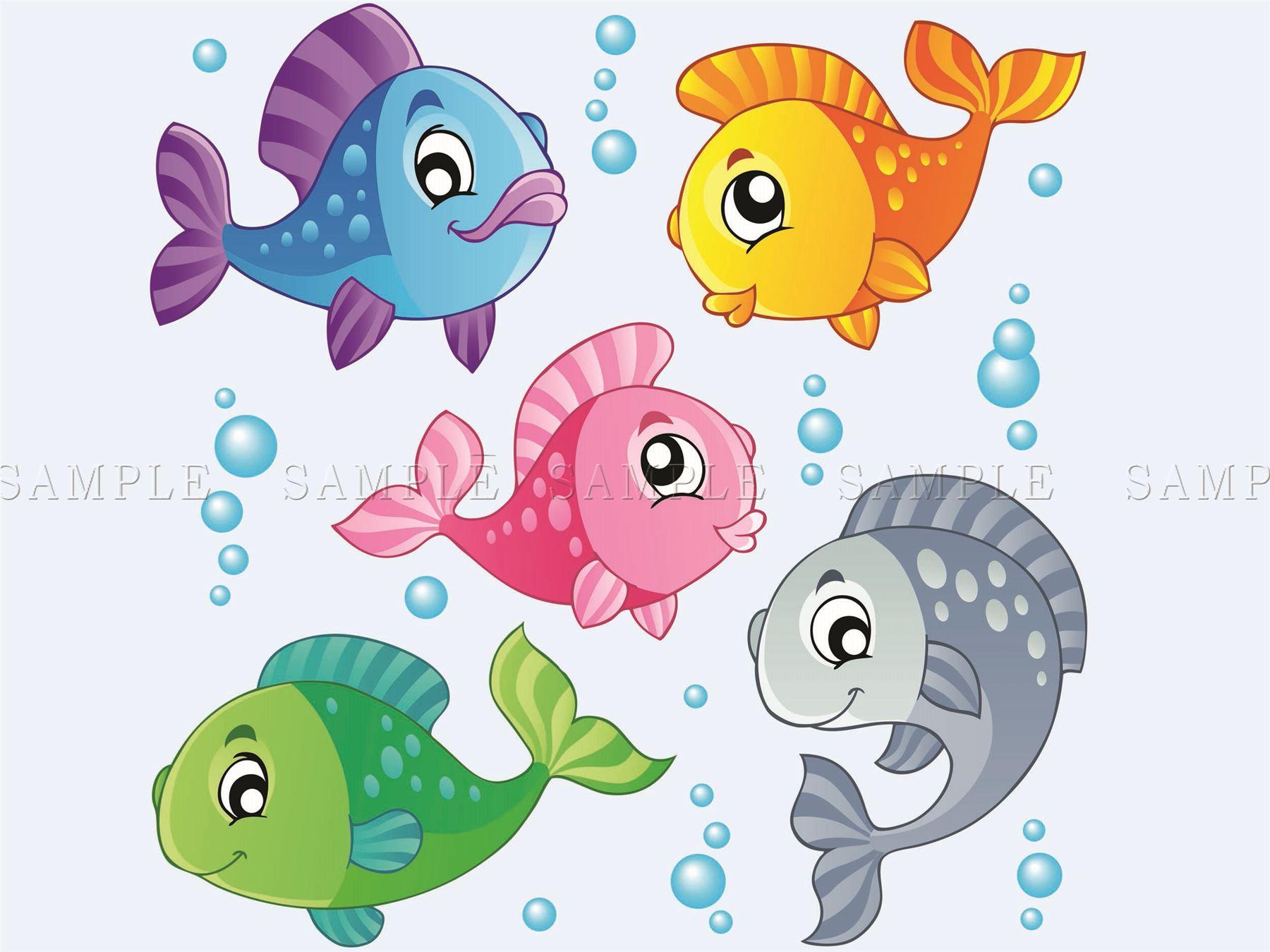 Dibujos Animados Peces Ilustración Submarino Niños Foto