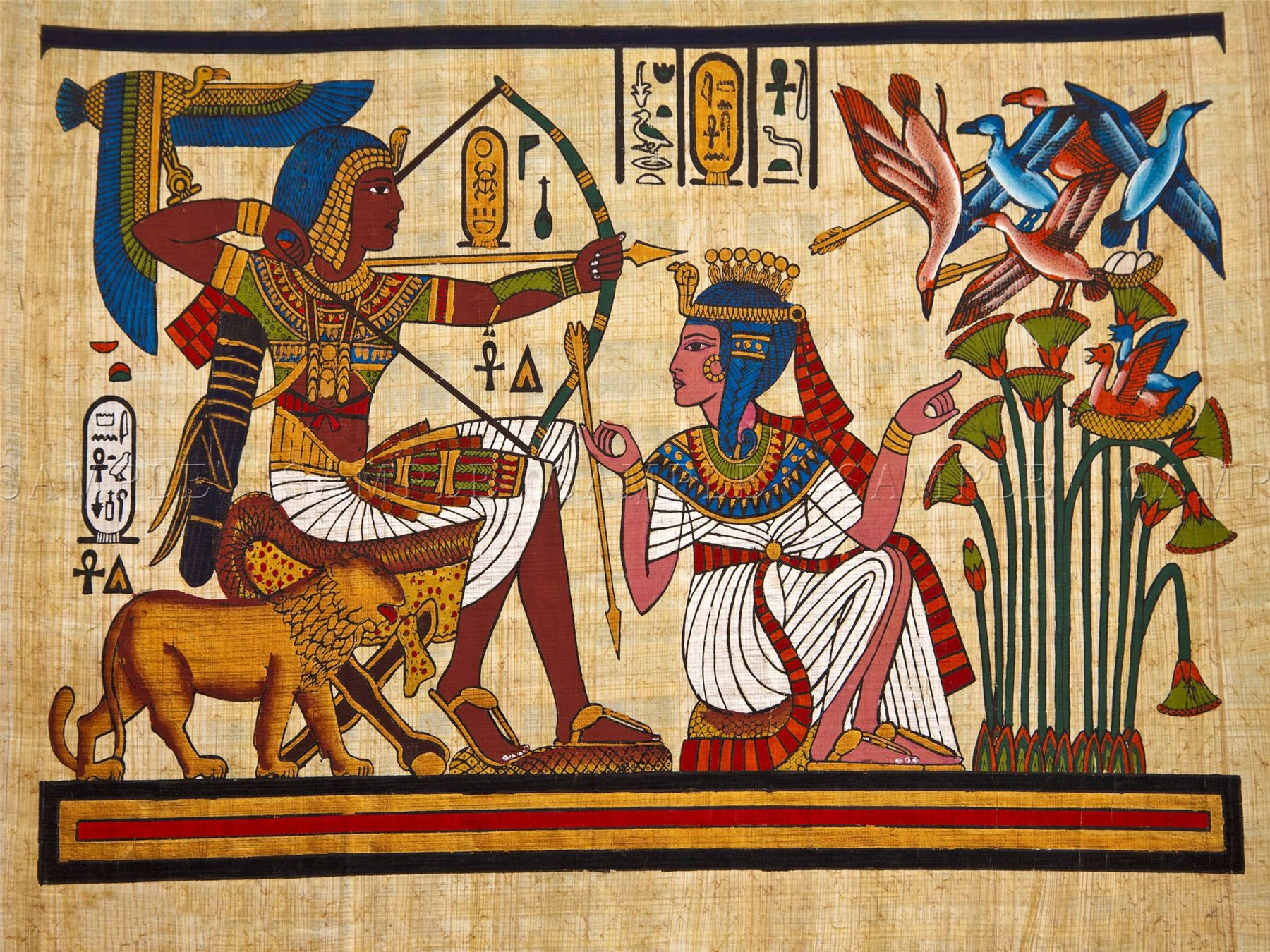 Painting ancient egyptian mural pharaoh queen archery for Egyptian mural painting