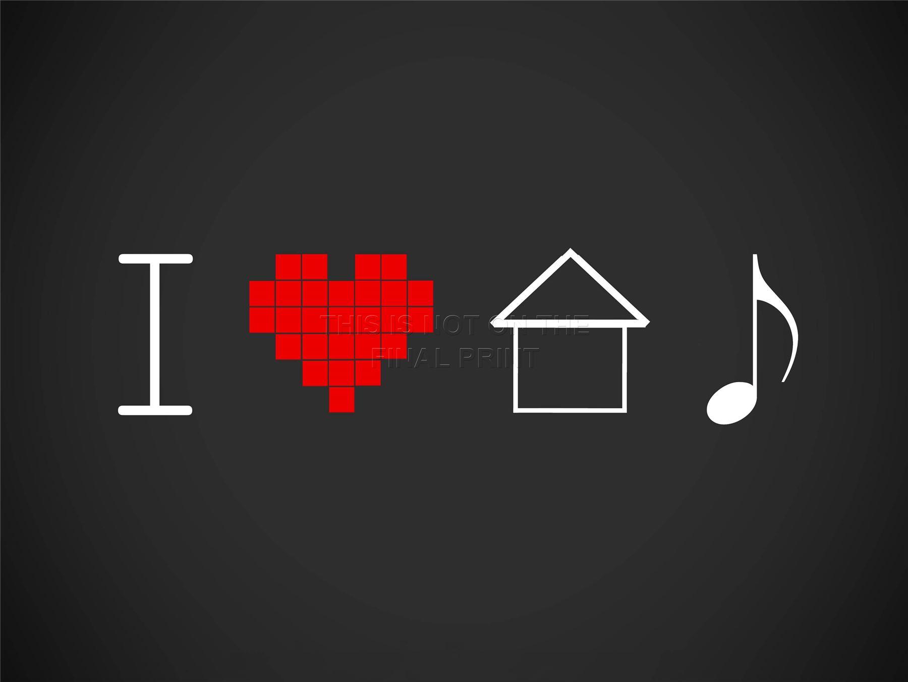 Art print poster pittura disegno i love house music pixel for 45 house music