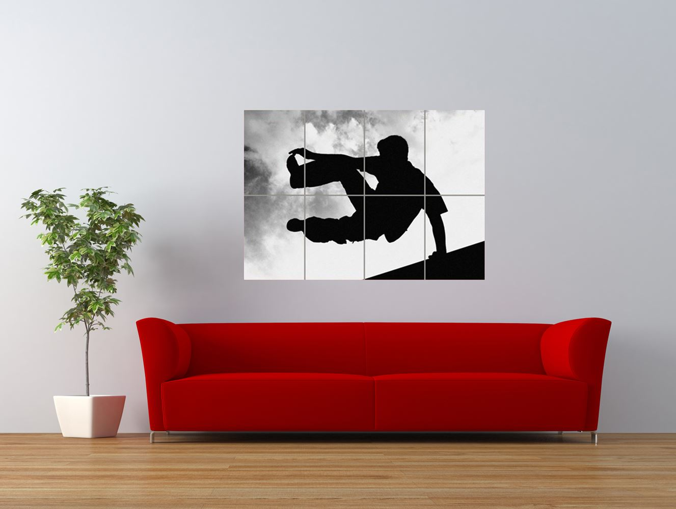 parkour free running sihouette jump giant art print panel poster nor0533 ebay. Black Bedroom Furniture Sets. Home Design Ideas