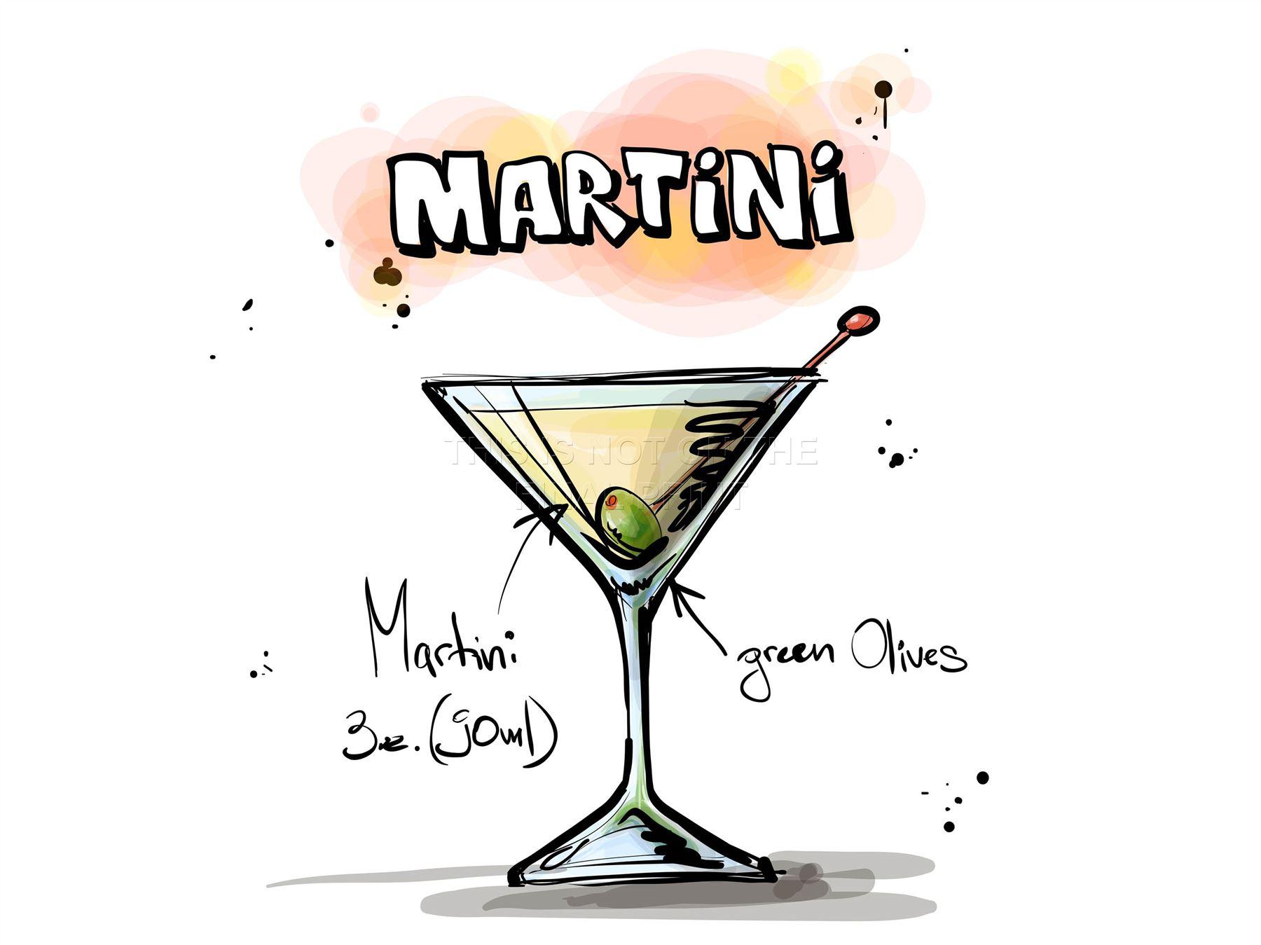 Impression artistique peinture dessin alcool cocktail recette martini lfmp0942 classique ebay - Dessin cocktail ...