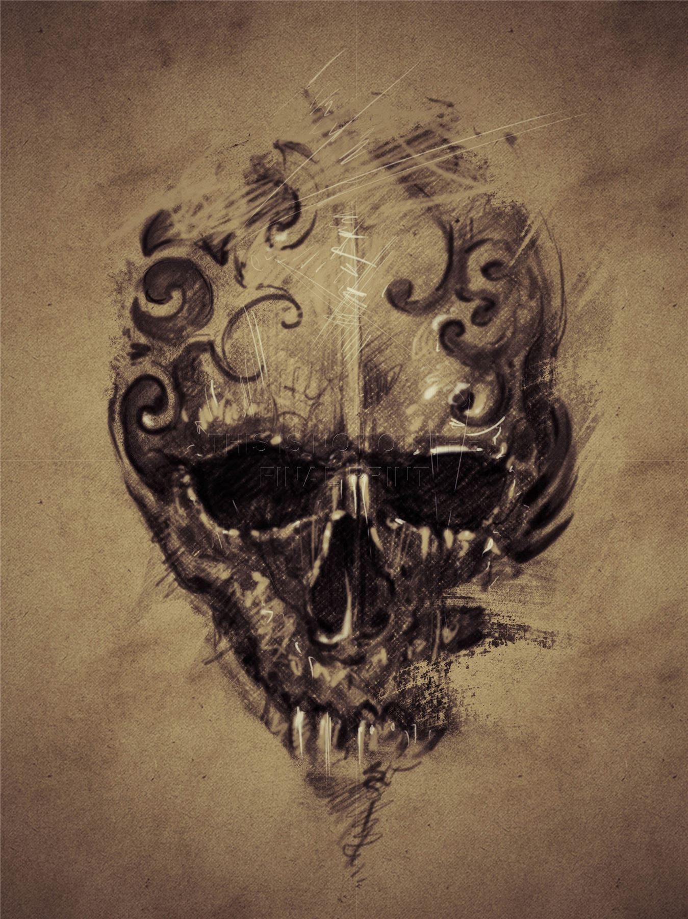 Art print poster painting drawing tattoo creepy skull for Creepy gothic pictures