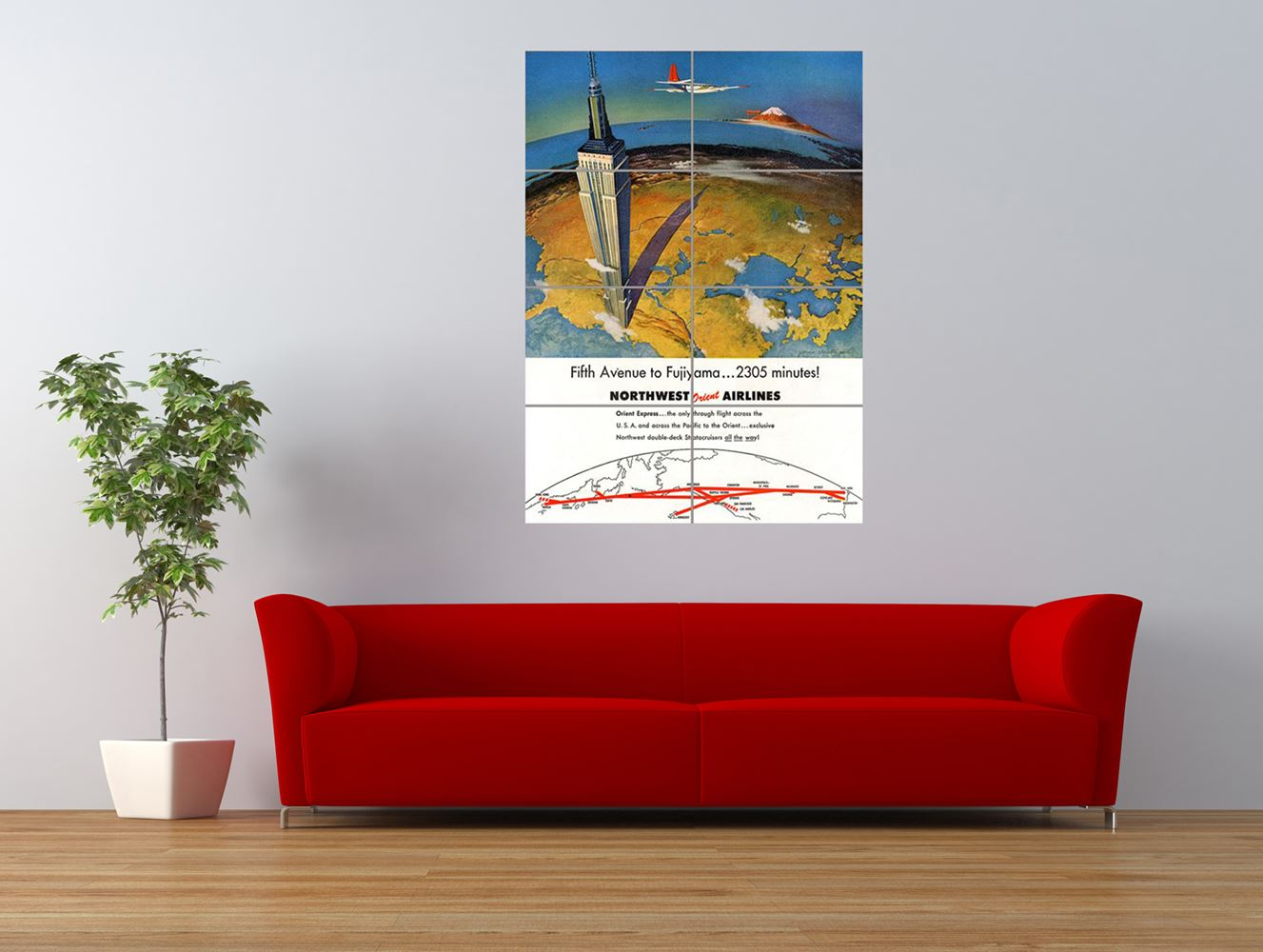 travel mount fuji japan northwest airline giant art print panel poster nor0449 ebay. Black Bedroom Furniture Sets. Home Design Ideas