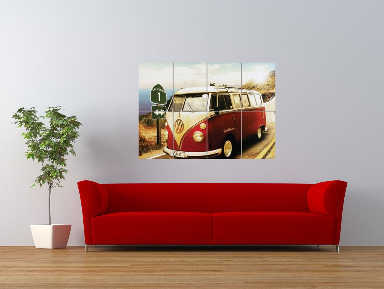 volkswagen vw van car camper cool giant art print panel poster nor0557 ebay. Black Bedroom Furniture Sets. Home Design Ideas