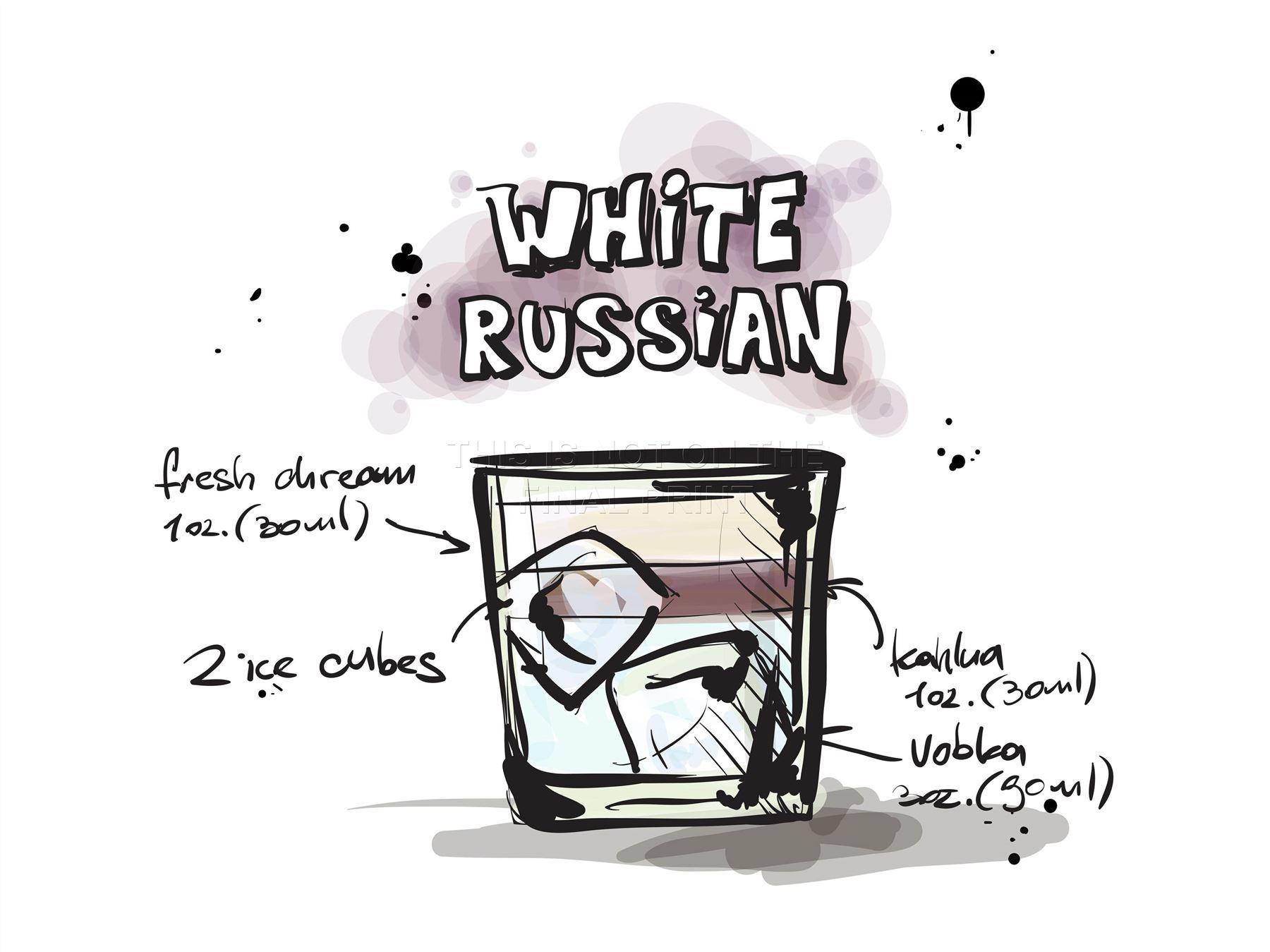Impression artistique peinture dessin alcool cocktail for Cocktail russe blanc