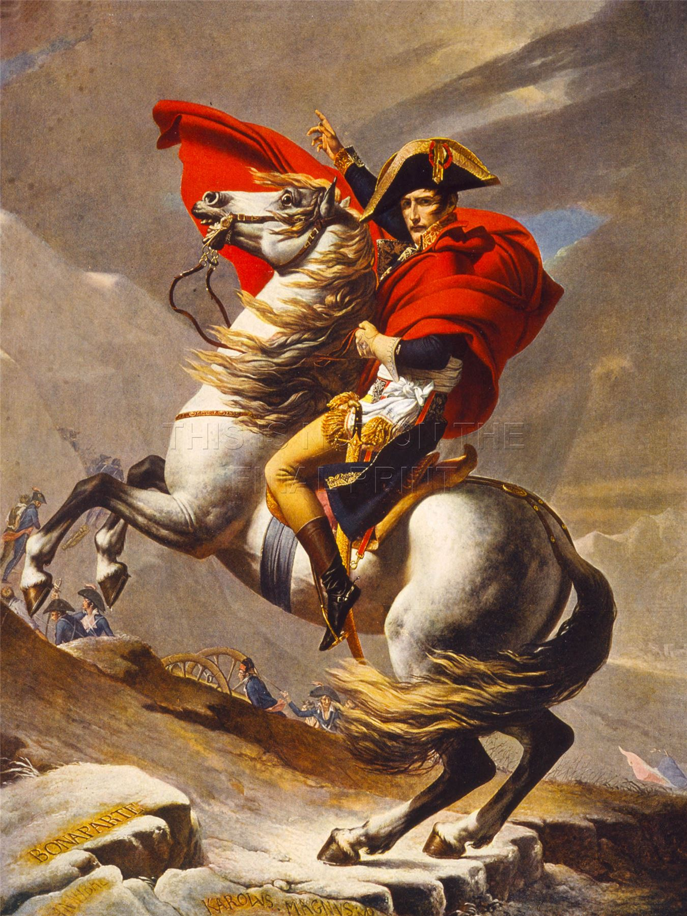 Print painting napoleon bonaparte emperor france alps st for Napoleon horse painting