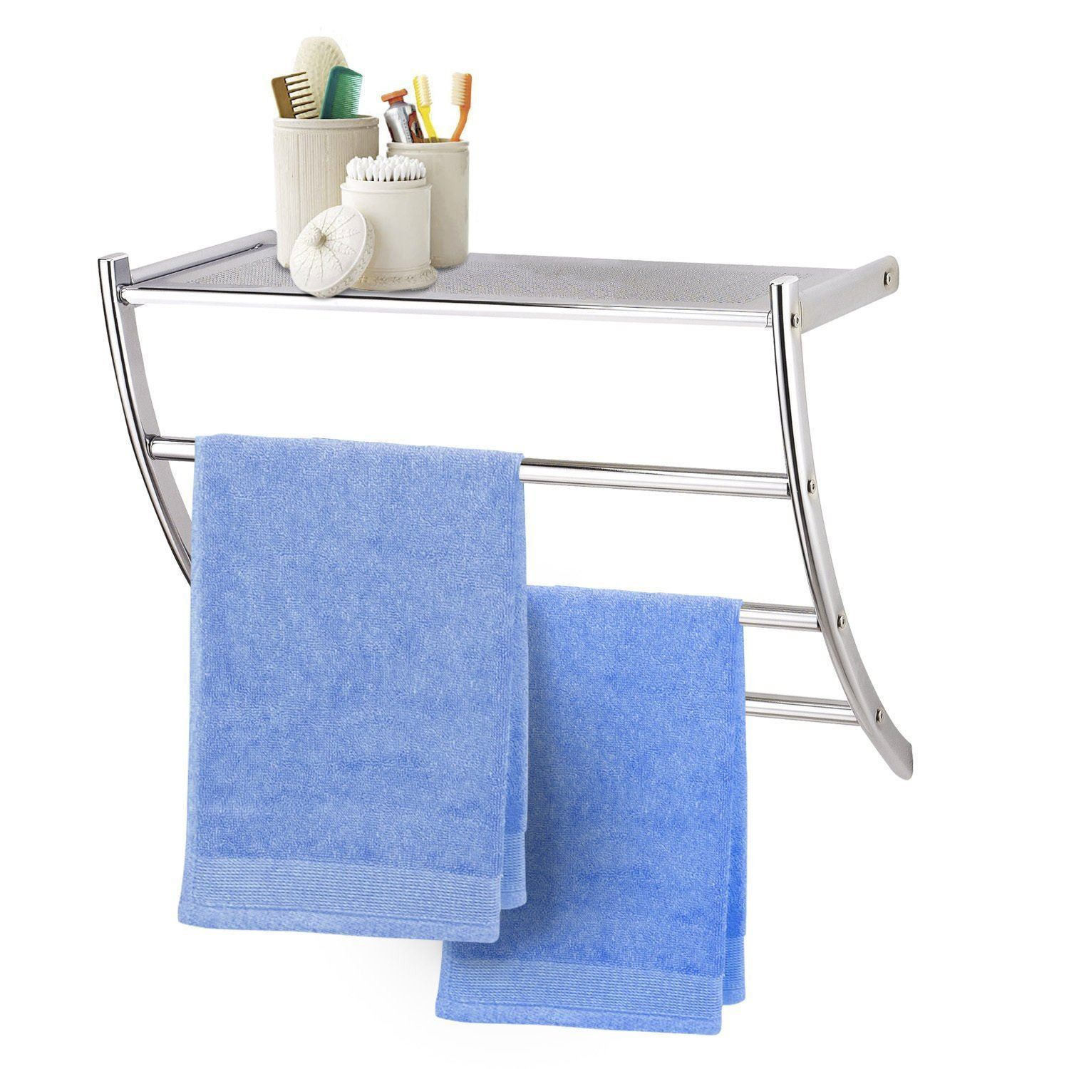 Metal Chrome Pleated Bathroom Wall Rack Shelf Storage Unit Towel Rail Ebay