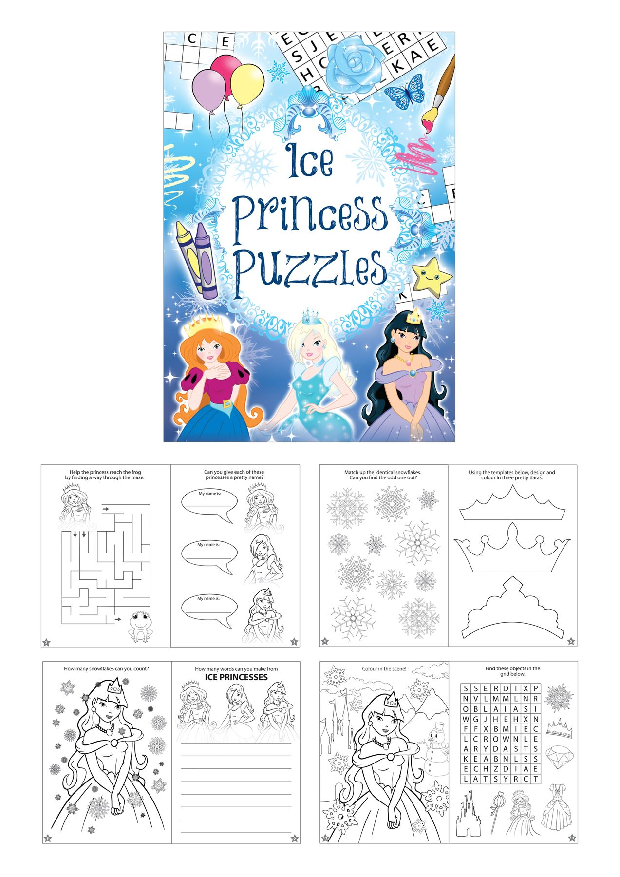 Colouring book puzzle ice princess wedding activity kids for Backyard party decoration crossword