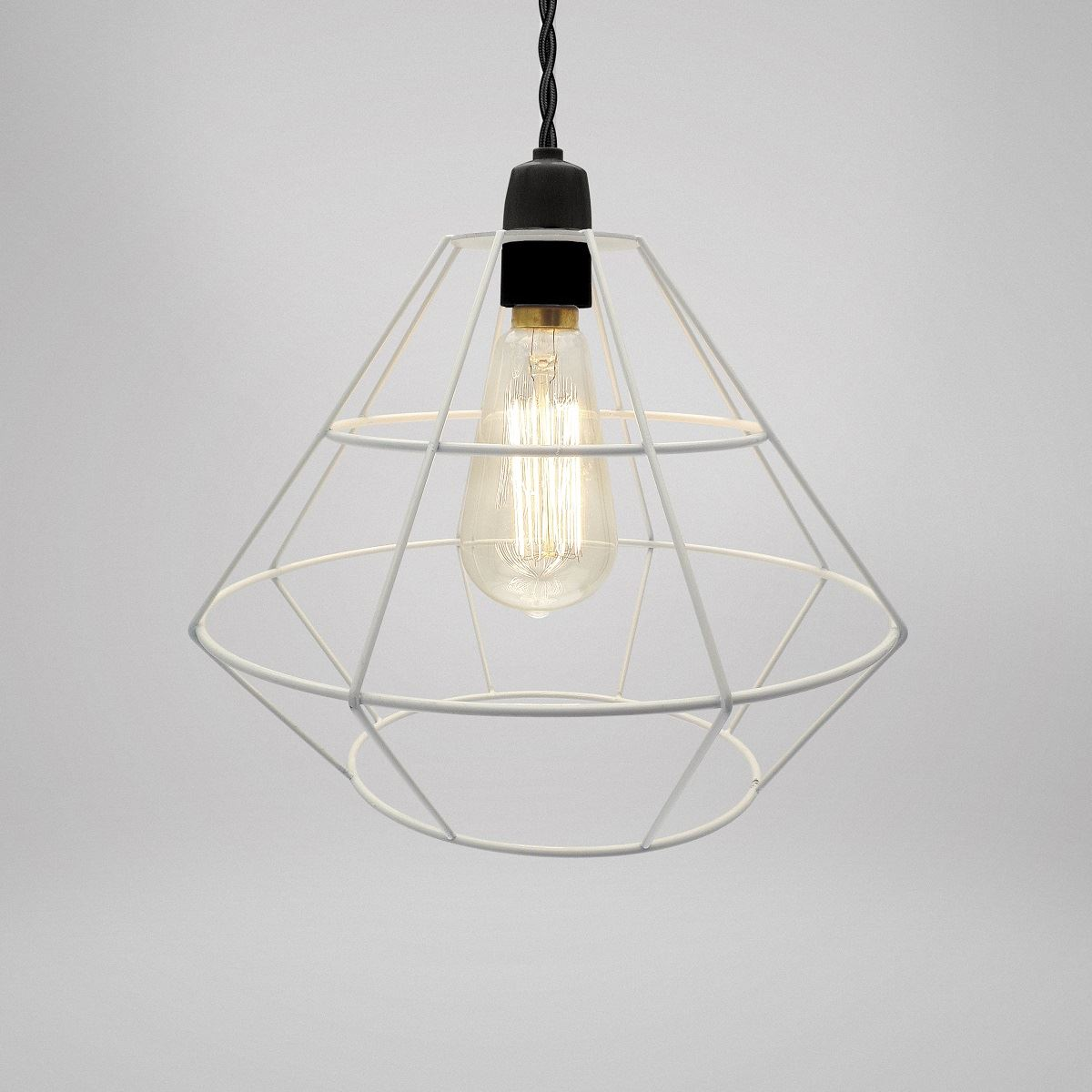 Modern industrial black white copper metal cage wire for Modern white pendant lighting