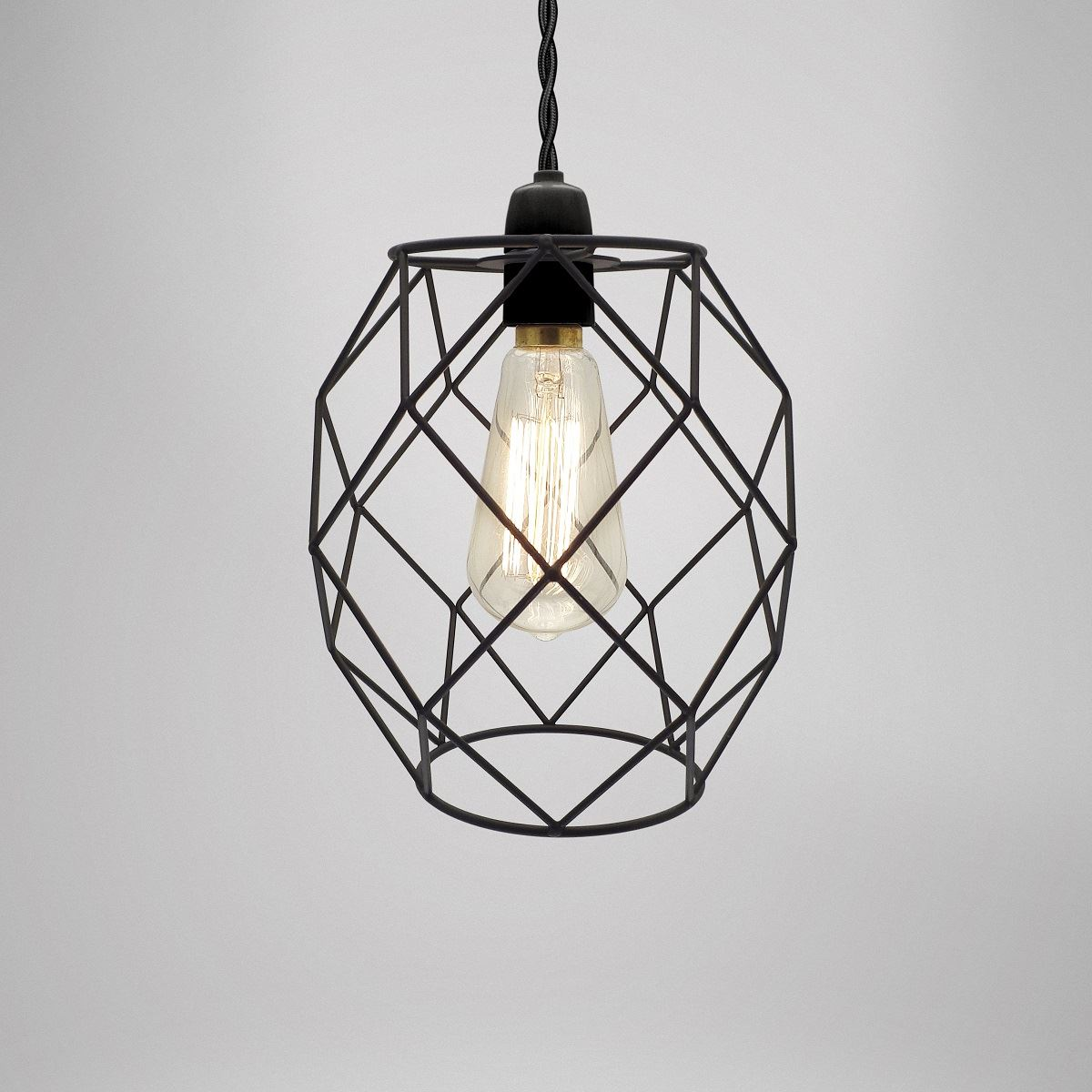 Modern industrial black white copper metal cage wire for Metal hanging lights