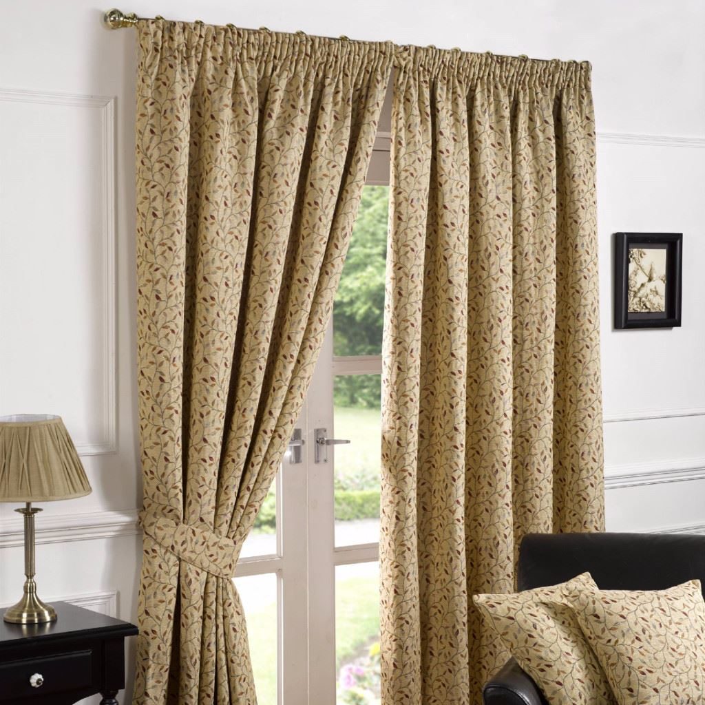 Harrogate Woven Tapestry Floral 3 Pencil Pleat Lined Ready Made Curtains Ebay