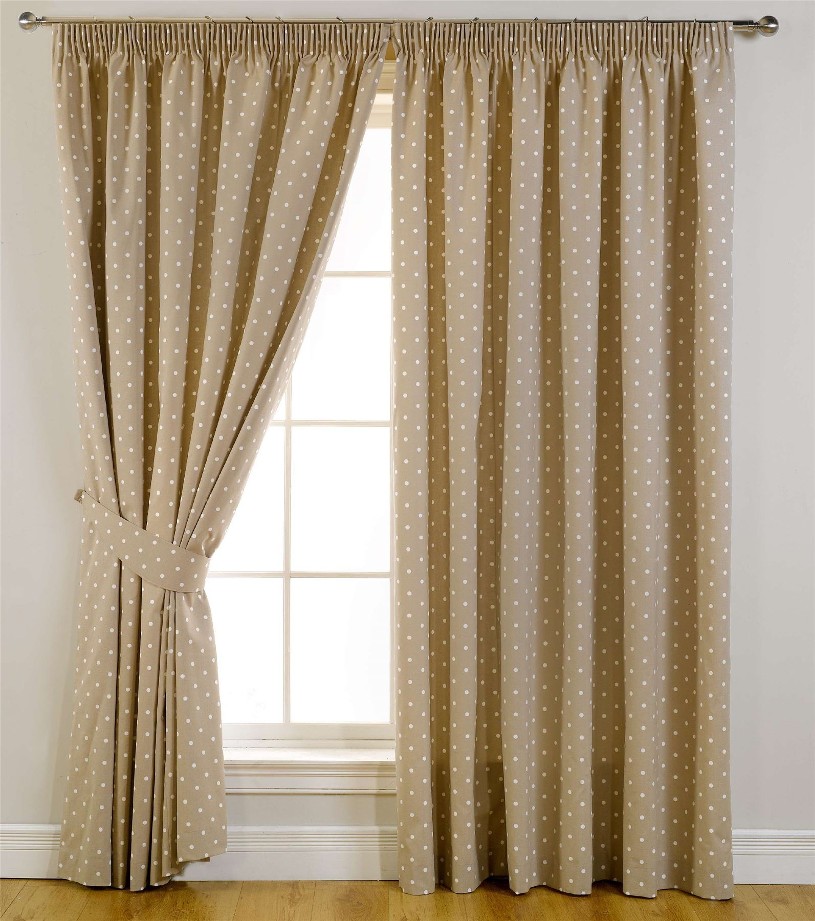 sundour dotty ready made lined pencil pleat curtains ebay. Black Bedroom Furniture Sets. Home Design Ideas