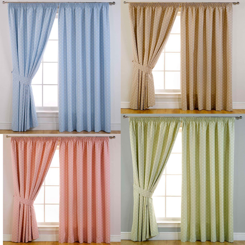Sundour Dotty Ready Made Lined Pencil Pleat Curtains Ebay