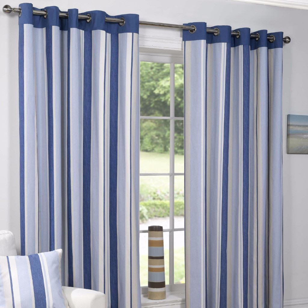 Padstow Blue Vertical Stripe Ready Made Eyelet Top Fully