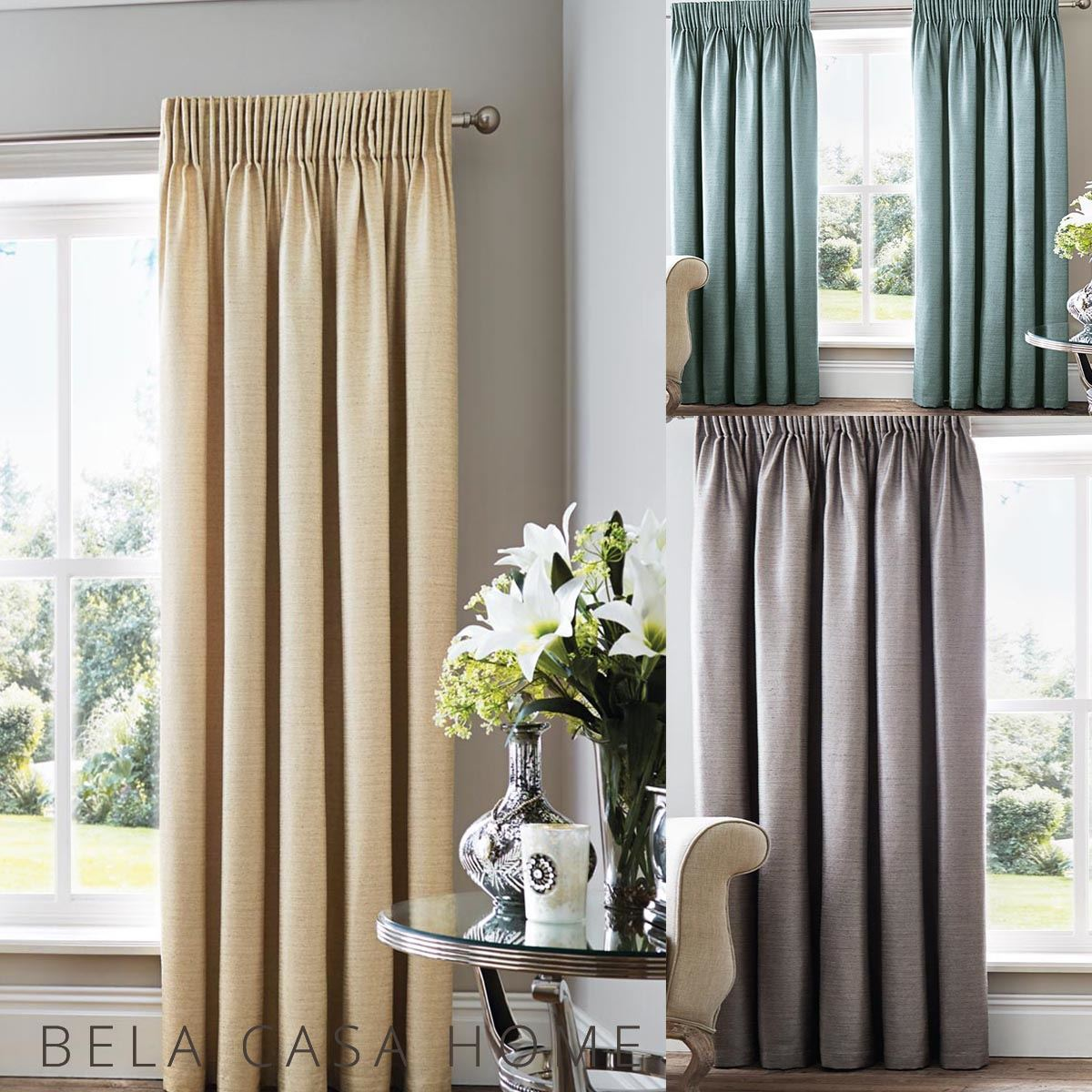 Linen Style Simple Elegant Plain Pencil Pleat Top Lined Ready Made Curtains Ebay