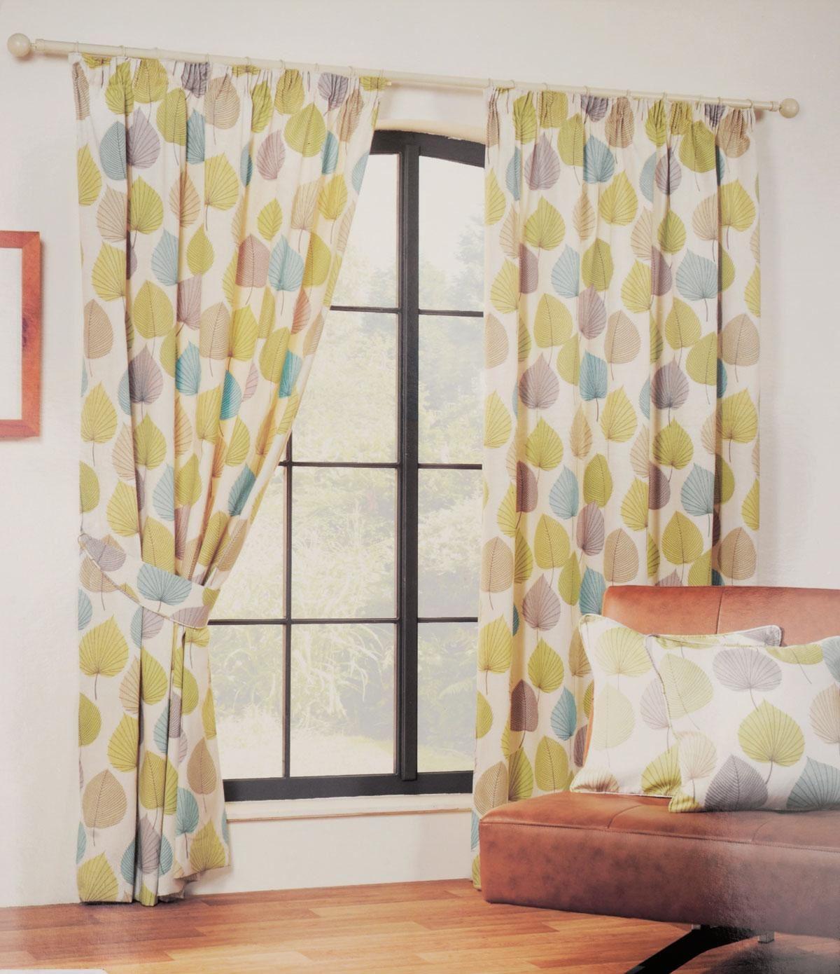 Sundour Inglewood Leaf Green Pencil Pleat Lined Ready Made Curtains Inc Tiebacks Ebay