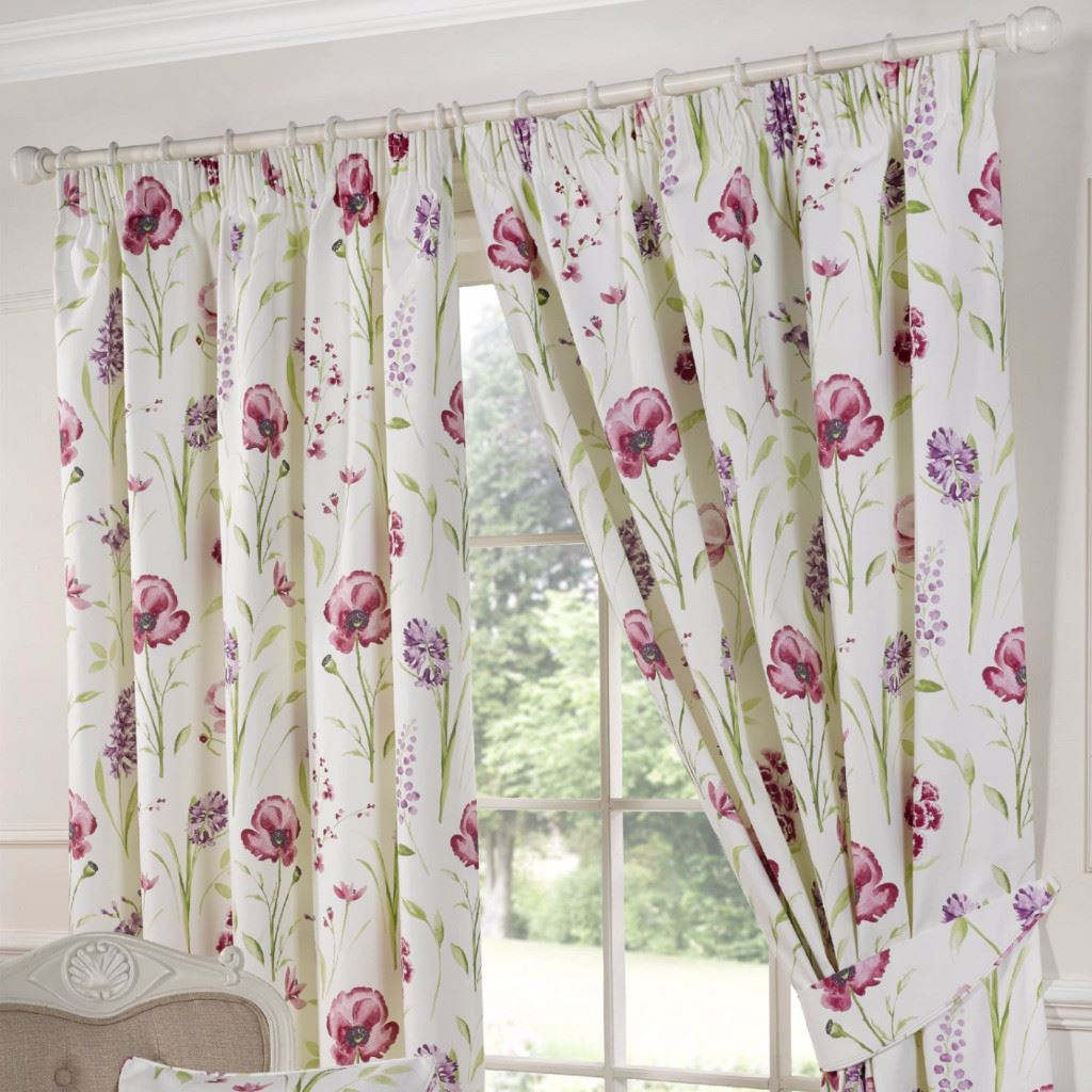 ellie red poppy 3 pencil pleat lined ready made curtains. Black Bedroom Furniture Sets. Home Design Ideas