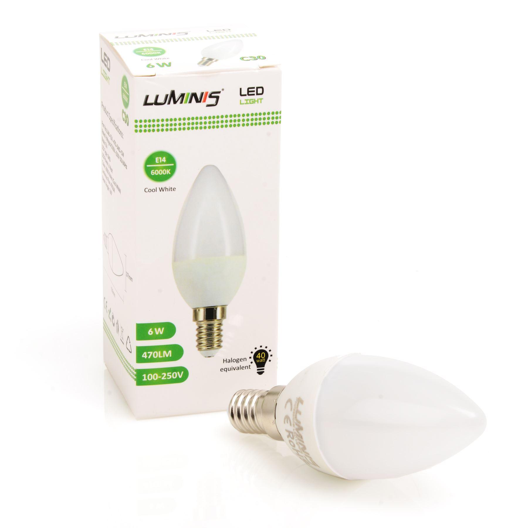 6w Led E14 Ses C37 Candle Light Bulbs Energy Saving Replace 40w Incandescent Ebay