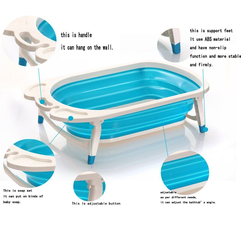 foldable baby bath tub sturdy can be folded to 8cm for easy storage blue. Black Bedroom Furniture Sets. Home Design Ideas