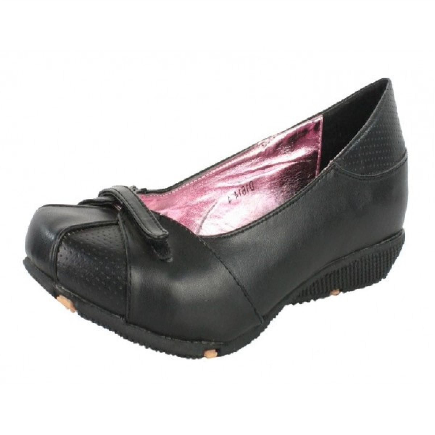 Ladies Womens Work Pump Shoes Girls Flat Black School ...