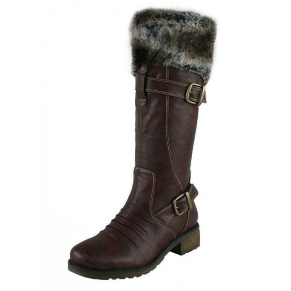 womens low heel winter boots fur lined knee high