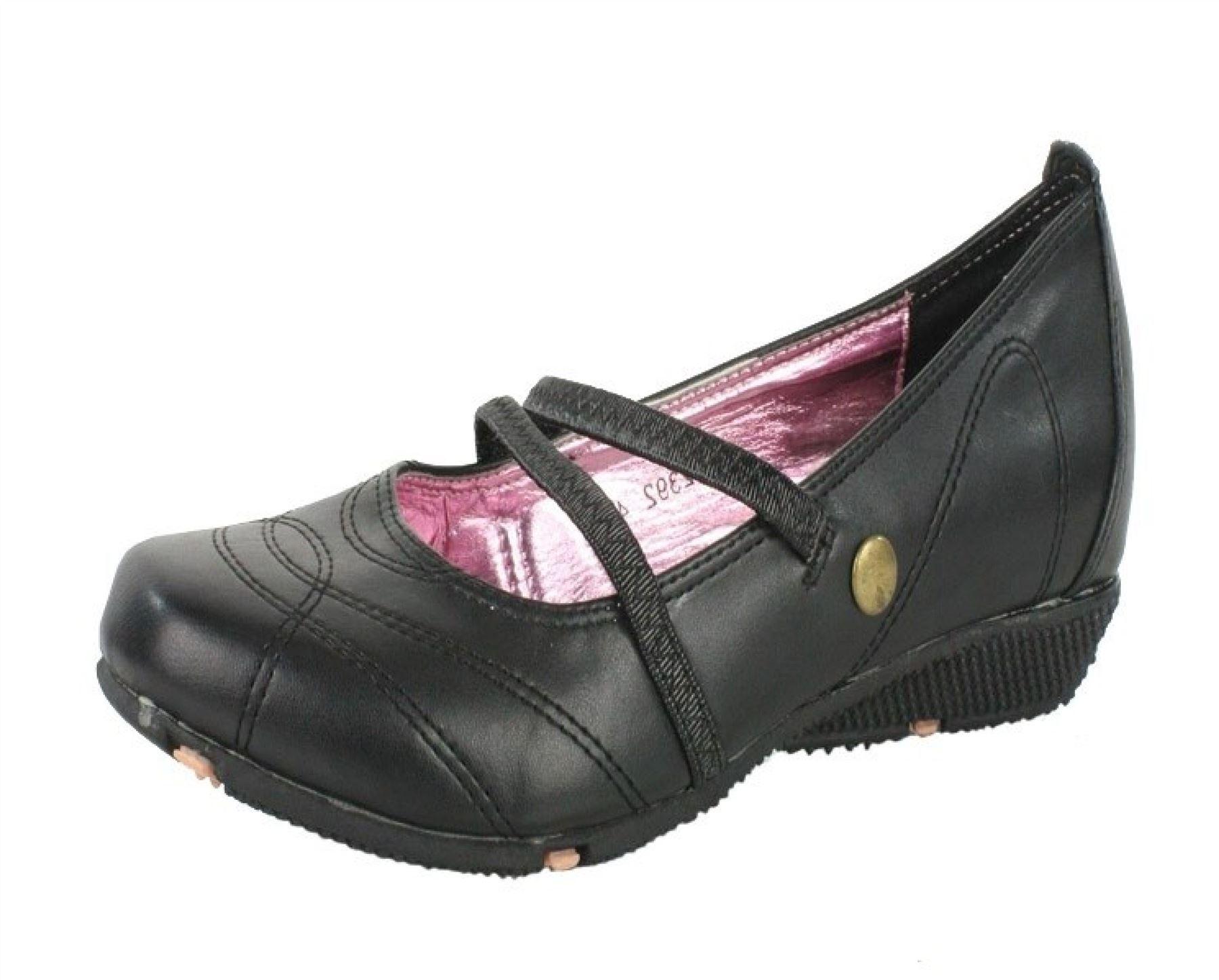 Ladies Womens Girls Flat Smart Black Work School Shoes 3-8 ...