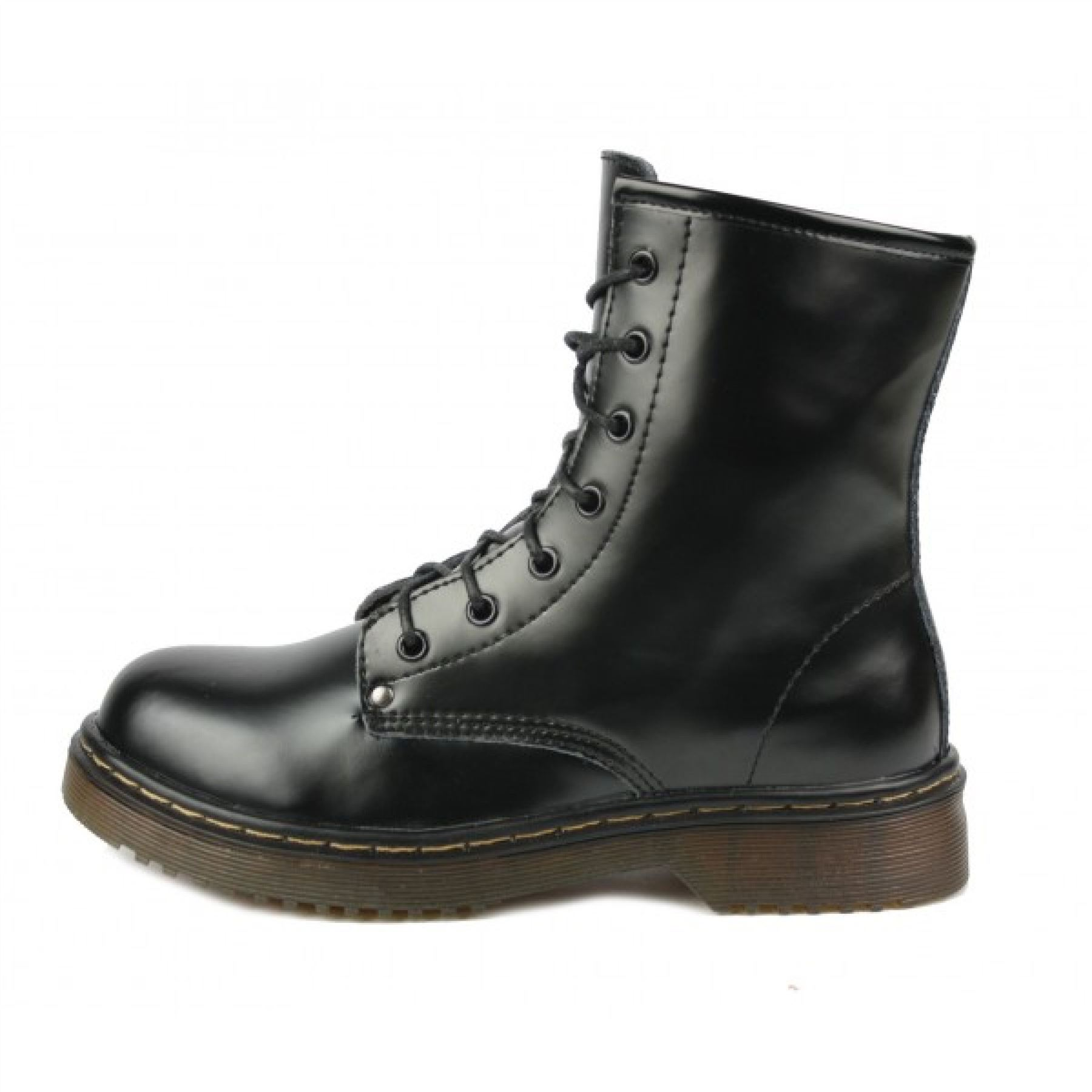retro combat leather boots womens lace up vintage