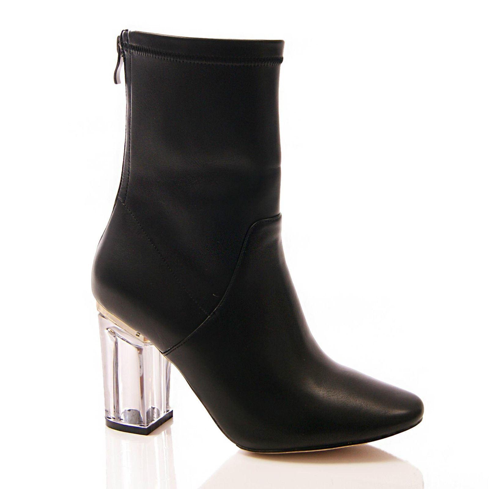 womens perspex clear heel ankle boots high heel zip