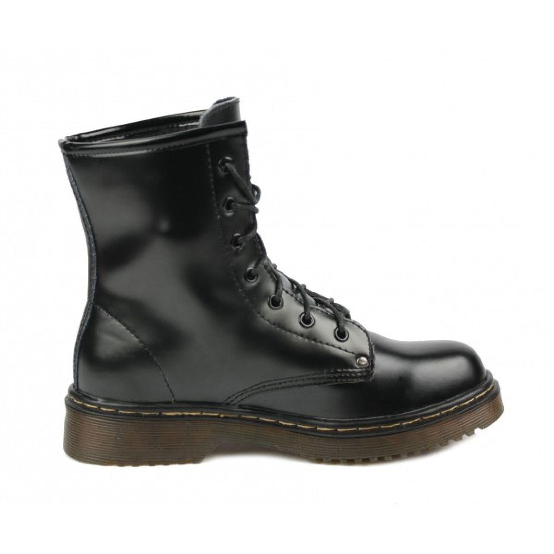 retro combat leather boots womens lace up vintage