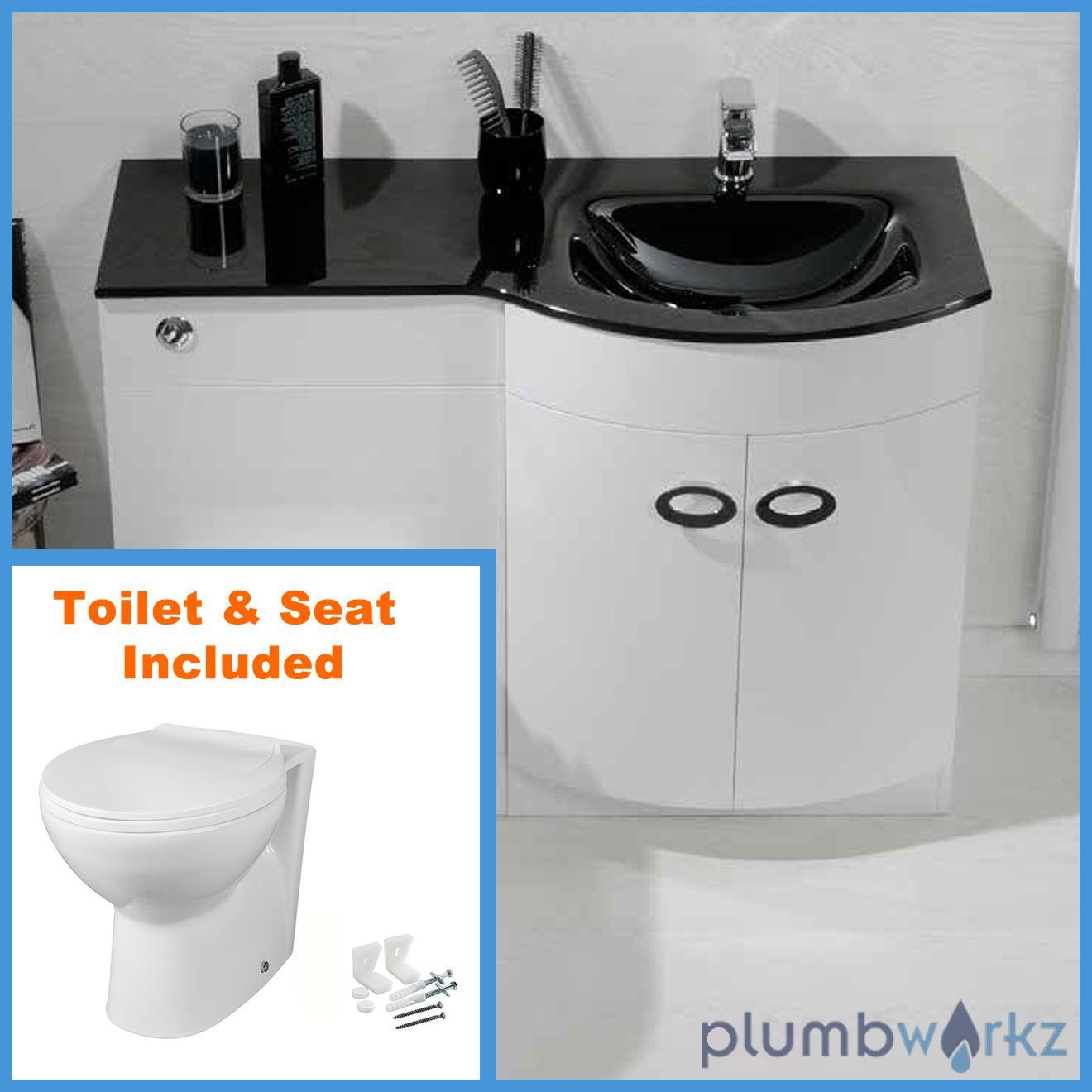 D Shape Bathroom Vanity Unit Basin Sink Bathroom WC Unit BTW Toilet Black Gla