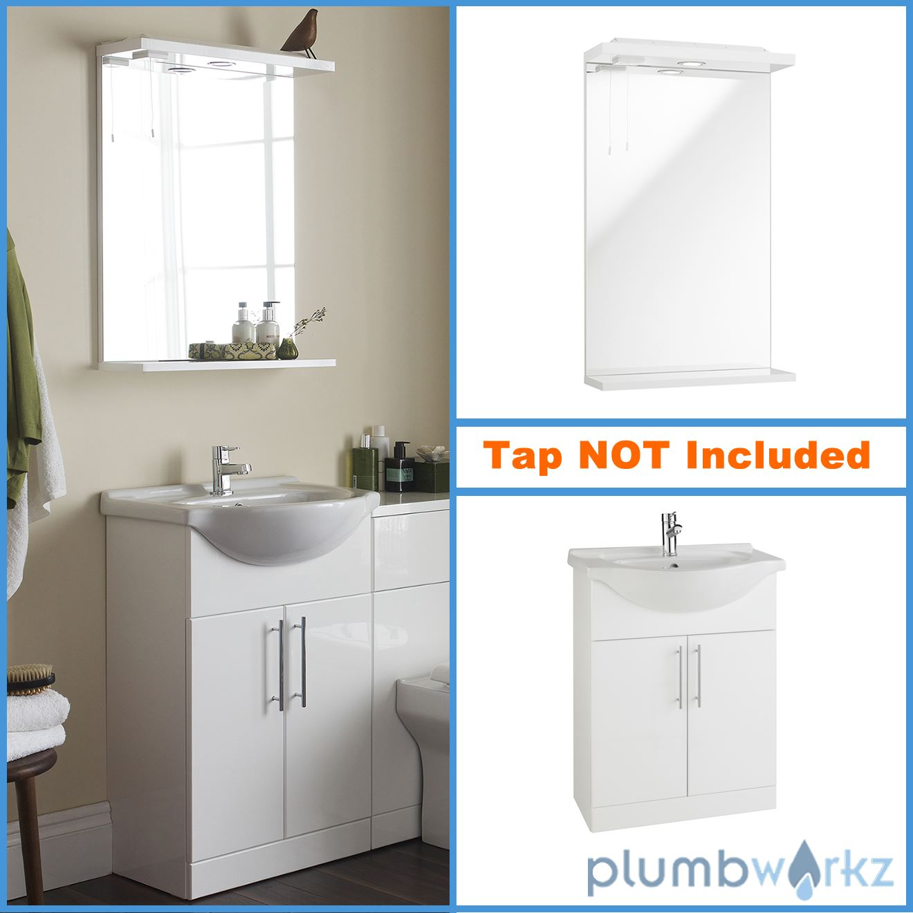 Vanity Unit Lights : Vanity Unit Basin Mirror Down Lights Gloss White Modern Bathroom Mirror eBay