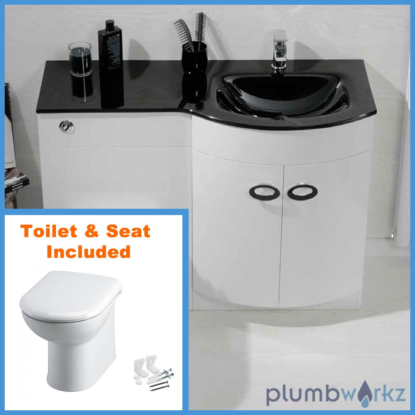 D Shape Bathroom Vanity Unit Basin Sink Bathroom Wc Unit Btw Toilet Black Glass Ebay