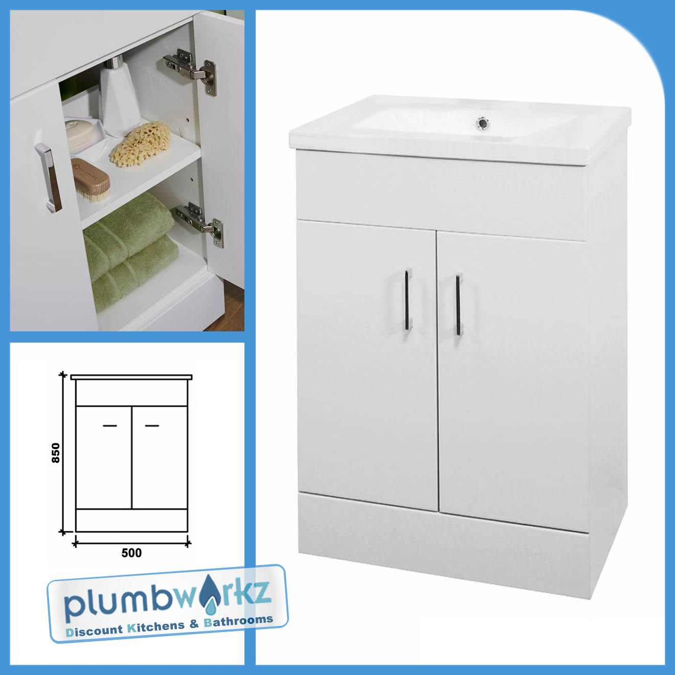 Bathroom Suite Basin Vanity Unit Cabinet Furniture Back To Wall Toilet Wc Unit Ebay