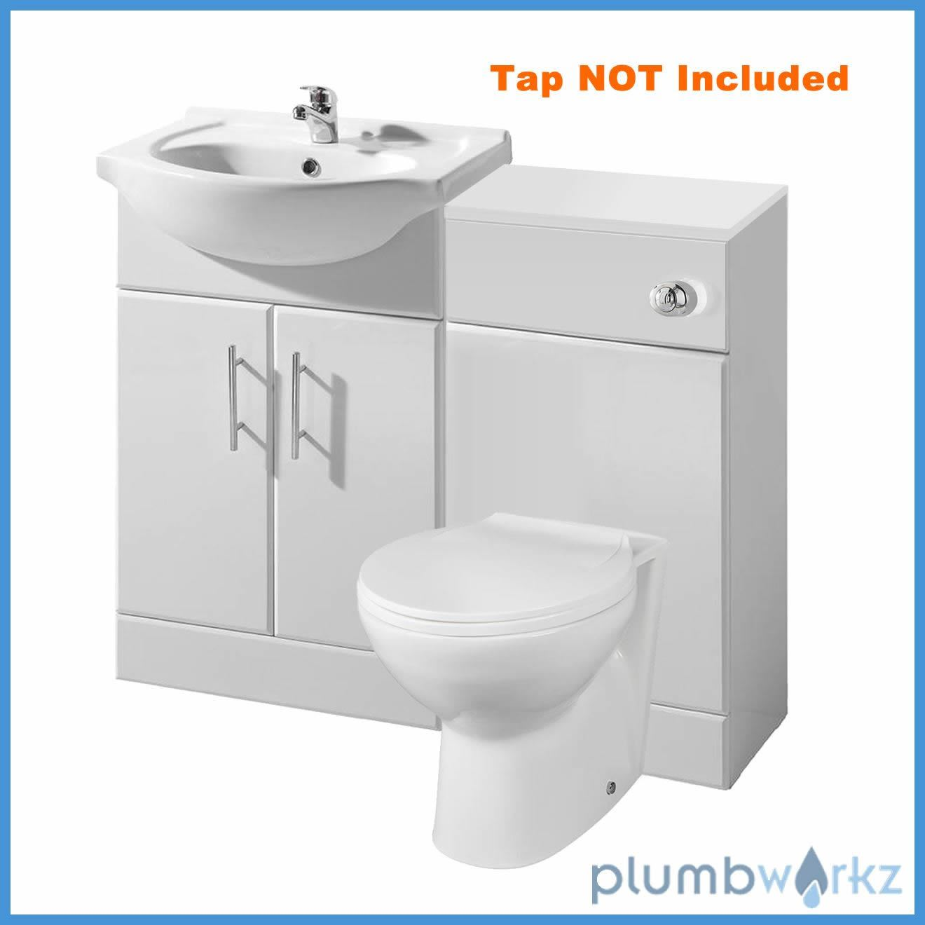 bathroom furniture suite vanity unit cabinet toilet basin back to wall cloakroom ebay. Black Bedroom Furniture Sets. Home Design Ideas