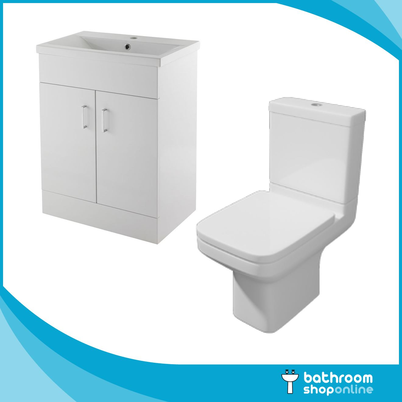 Gloss White 600mm Vanity Unit Close Coupled Toilet Basin Sink Bathroom Cabinet Ebay