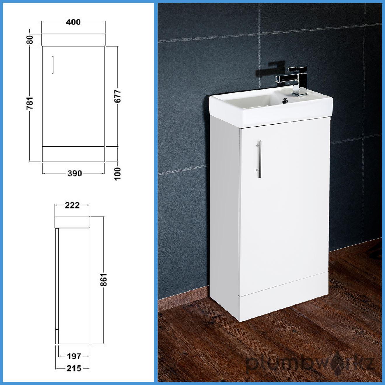 Compact Bathroom Vanity Unit Basin Sink Vanity 400mm Floor Standing Tap