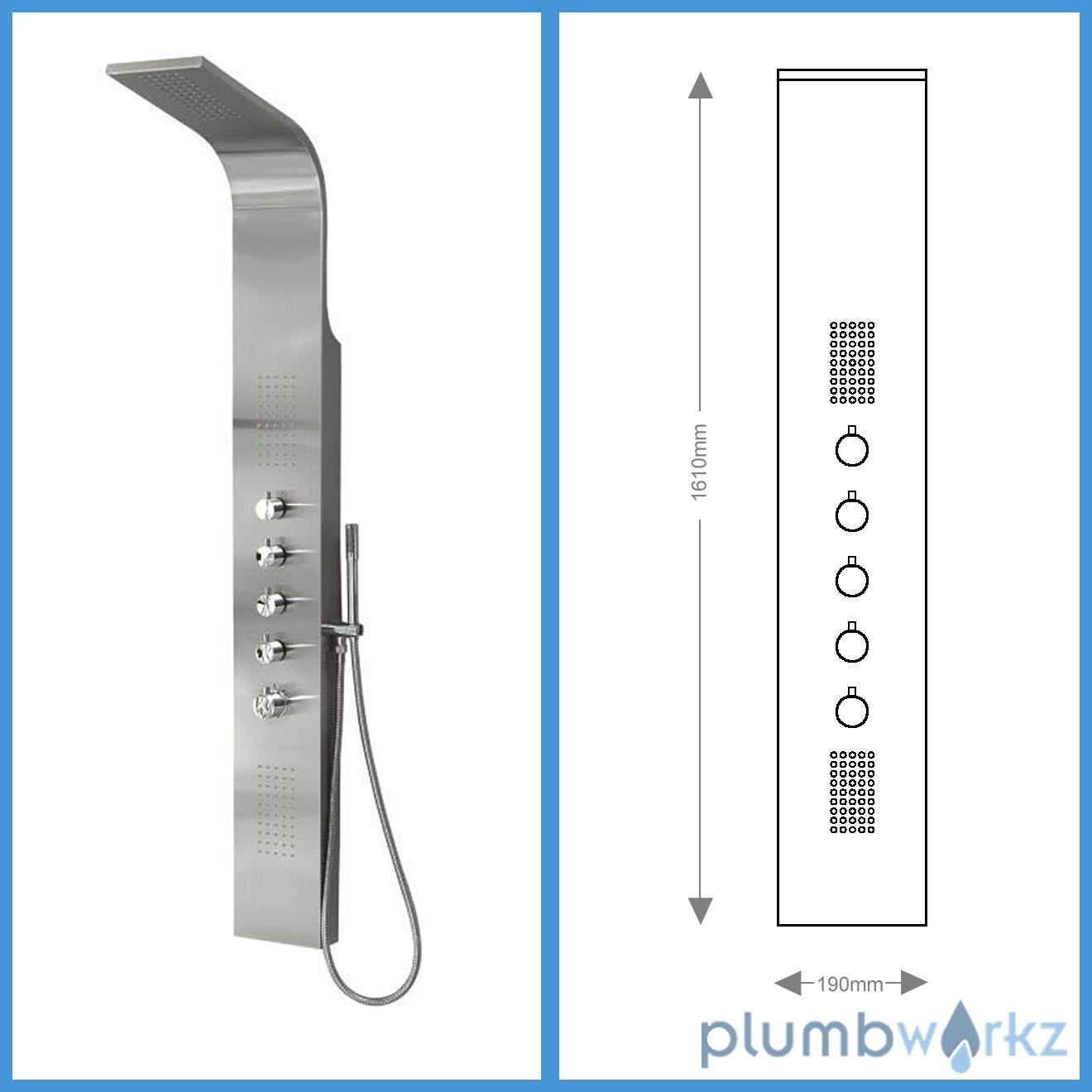 Thermostatic shower panel column tower with body jets twin for Shower tower with body jets