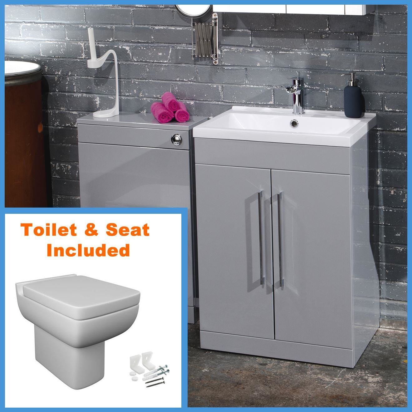 modern grey vanity unit wc unit bathroom furniture cabinet basin btw toilet ebay. Black Bedroom Furniture Sets. Home Design Ideas