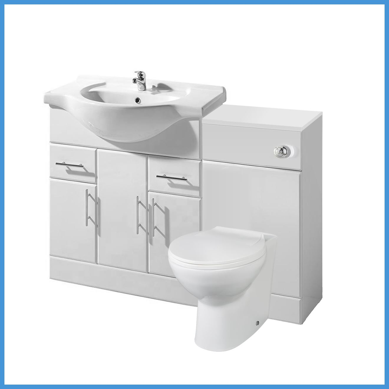 details about high gloss white bathroom vanity unit storage cabinet wc