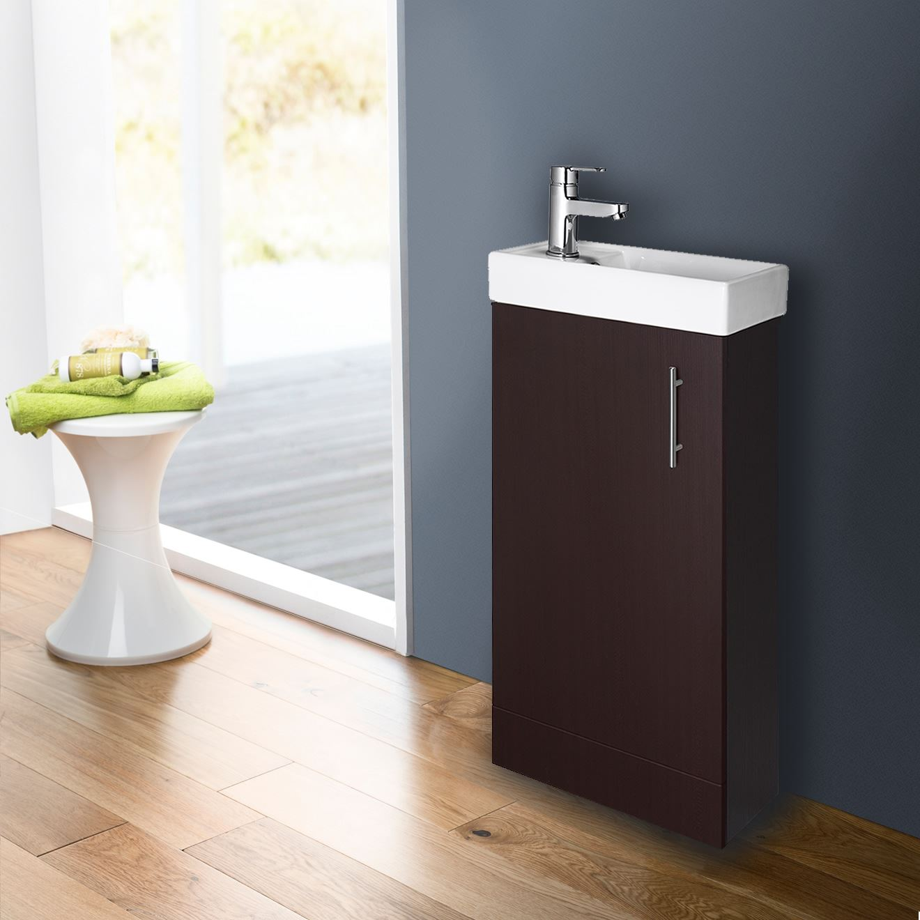 Compact Bathroom Vanity Unit Basin Sink Cloakroom 400mm