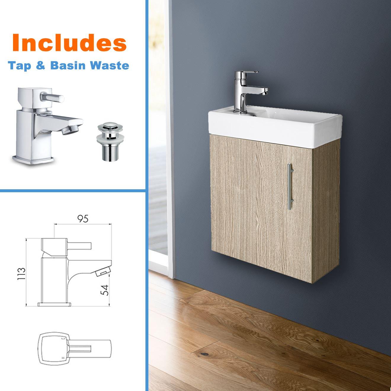 White Bathroom Vanity Unit Ceramic Basin Sink Oak Ebony Storage Cabinet En Suite Ebay