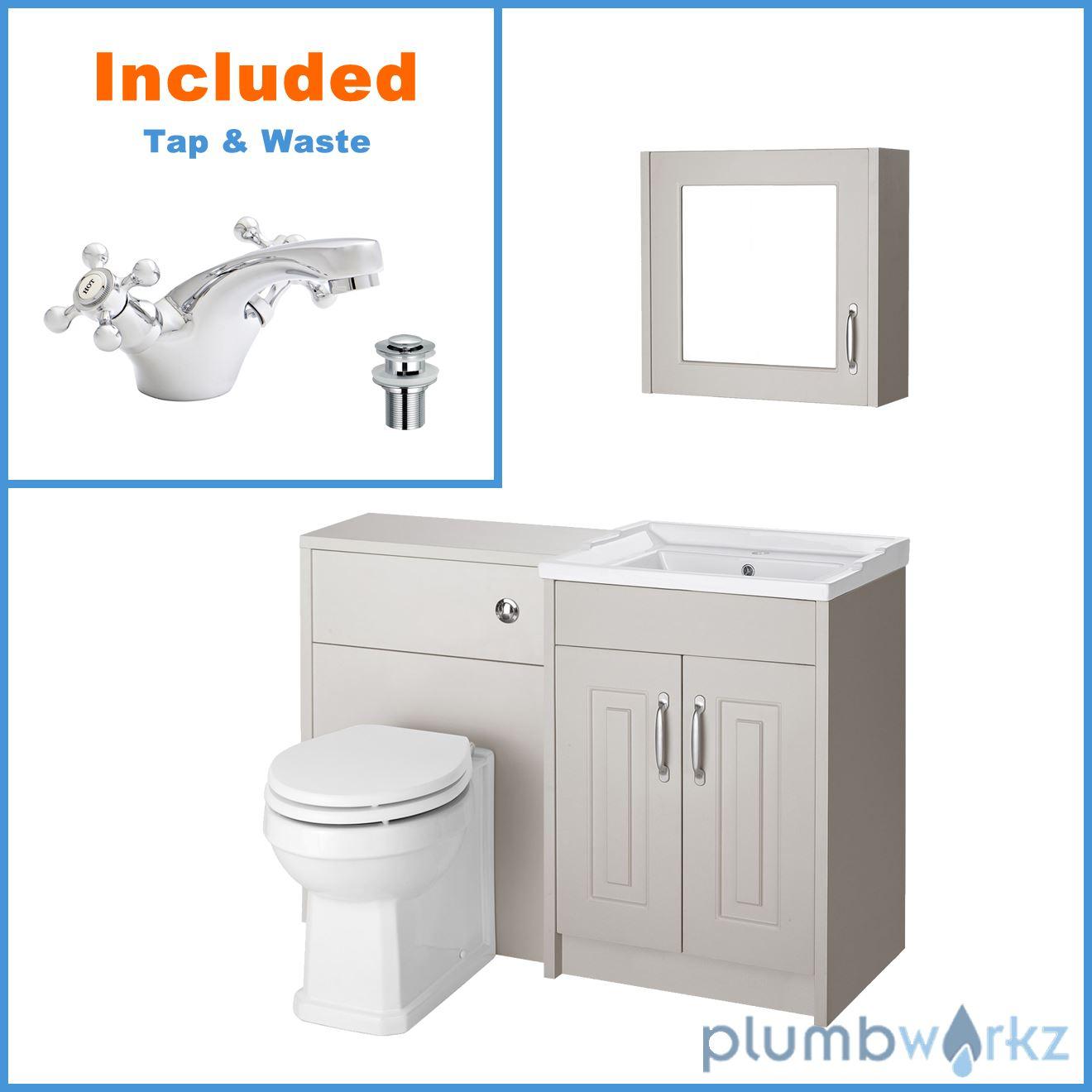 Traditional Vanity Unit 600 Basin Sink Wc Unit Concealed Cistern Mirror Cabinet Ebay