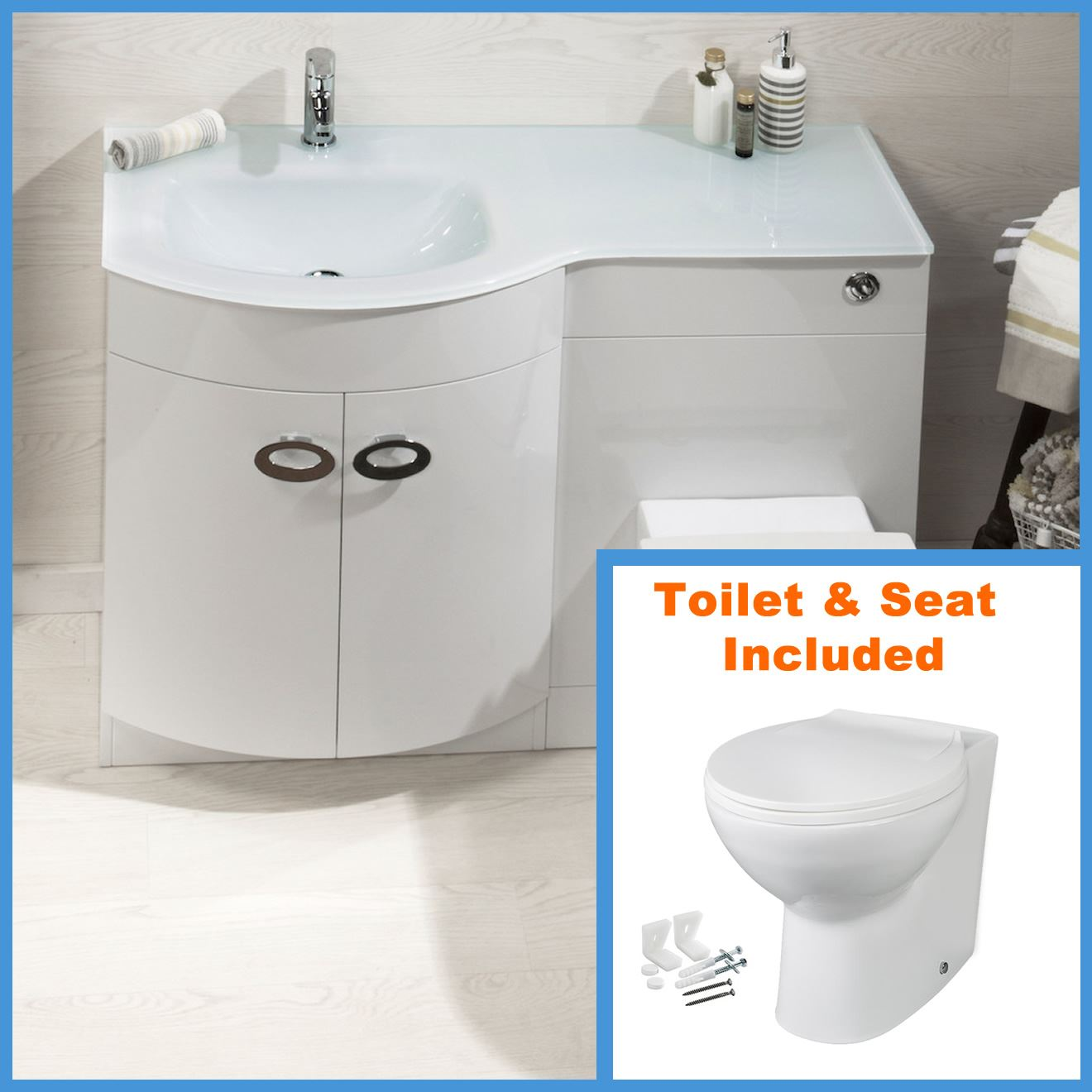 D Shape Bathroom Vanity Unit Basin Sink Bathroom Wc Unit Btw Toilet White Glass Ebay