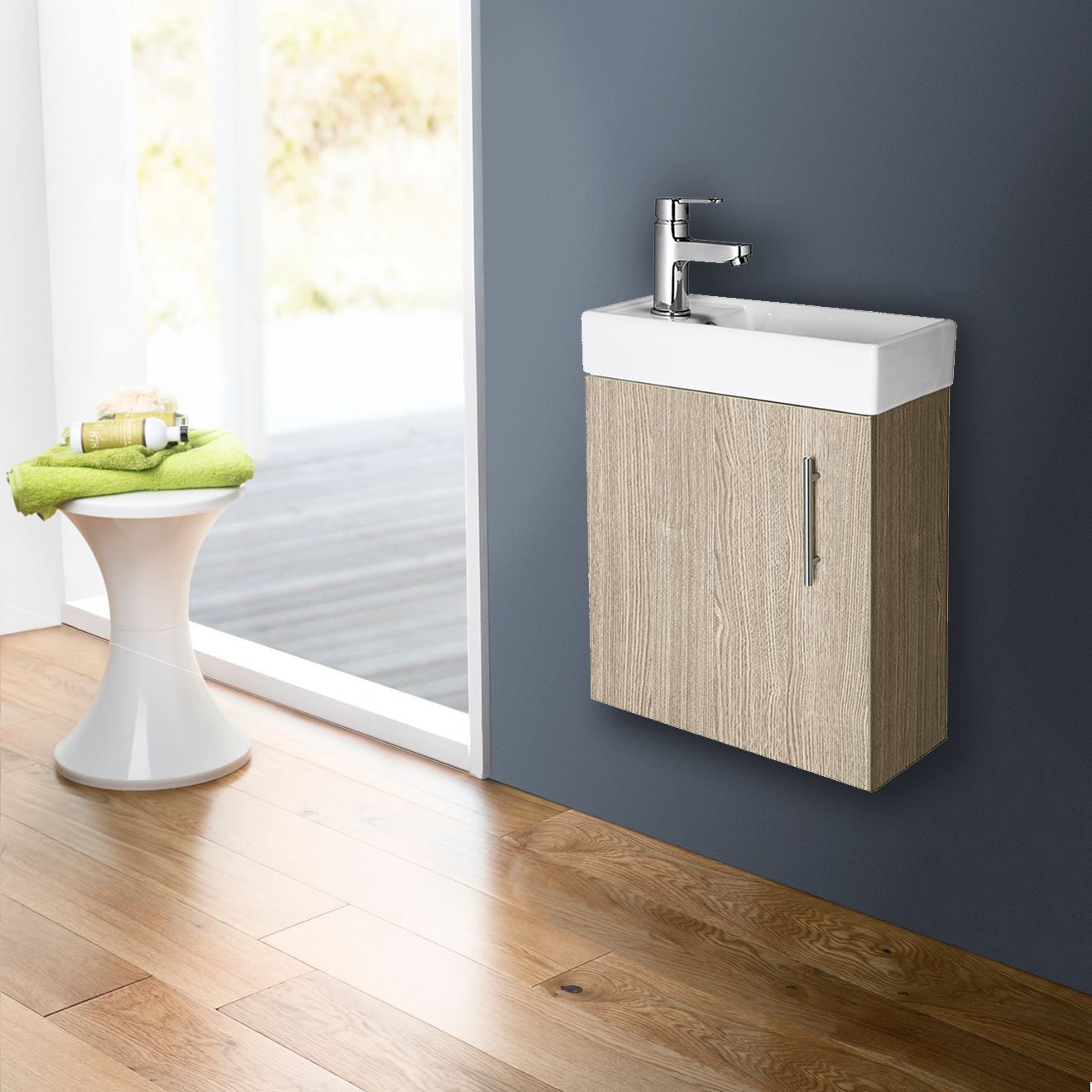 Compact Bathroom Vanity Unit Basin Sink Cloakroom 400mm Wall Hung