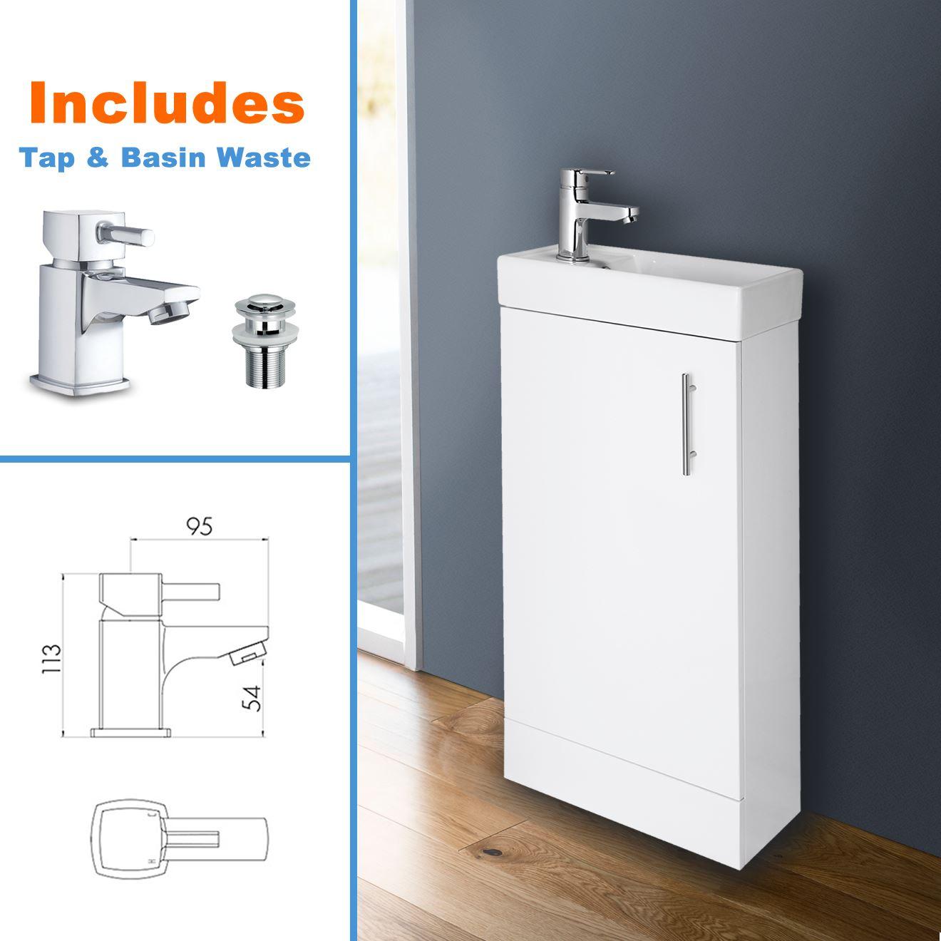 White bathroom vanity unit ceramic basin sink oak ebony storage cabinet en suite - Oak bathroom sink vanity units ...