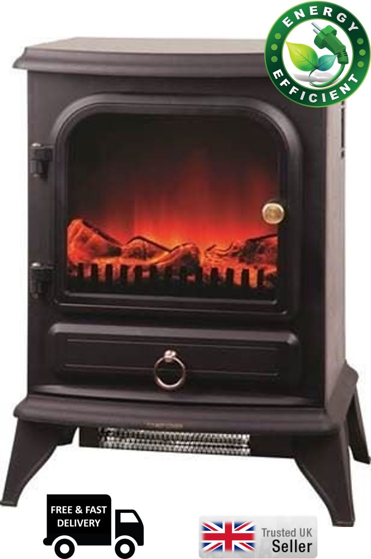 2kw log burning flame effect electric log burner fan. Black Bedroom Furniture Sets. Home Design Ideas