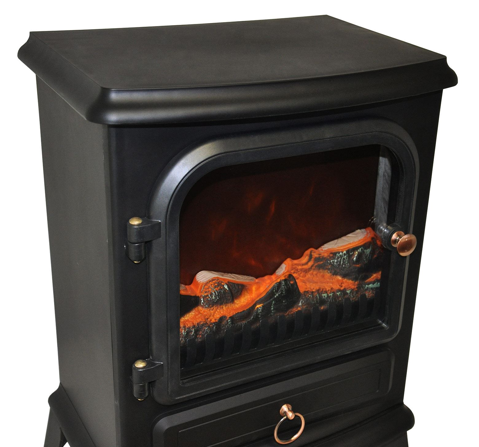 new traditional 2kw black log burner flame effect electric. Black Bedroom Furniture Sets. Home Design Ideas