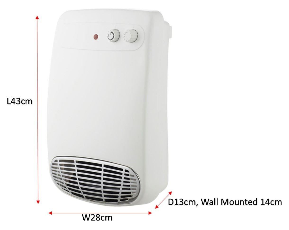 Futura 2kw wall mounted downflow bathroom fan heater ebay - Wall mounted electric bathroom heaters ...